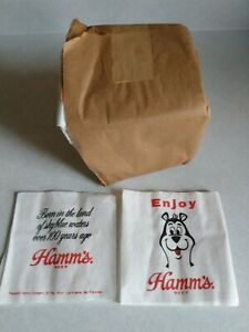 Full Package 1970's Hamms Napkins with the Bear saying ENJOY Hamm's Beer