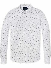 Scotch And Soda Cotton Men's White/Blue Shirt Long Sleeve L
