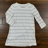 Eileen Fisher Women's Size XXS Off White Black Striped Tunic Top / Dress Linen