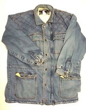 Thick Heavy Vintage Distressed Denim Jean Jacket Fleece Lined Jordin Mens Large