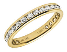 14K Yellow Gold One Row Eternity Genuine Diamond Engagement Ring Band 1.0ct 3MM