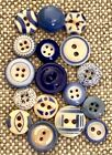 17 Vintage Blue China Buttons, Stencils, Calicos, Ringers