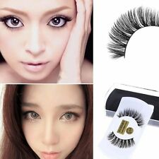 1 Pair 100% Women Real Mink Black Natural Thick False Fake Eyelashes Eye Lashes/