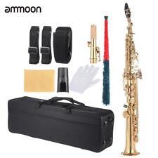 ammoon Brass Straight Soprano Sax Saxophone Bb B Flat with Case Golden B4H6