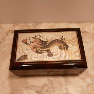 "Japanese Lacquerware Music Jewelry  Box ""SUKIYAKI "" Dragon  Made in Japan"