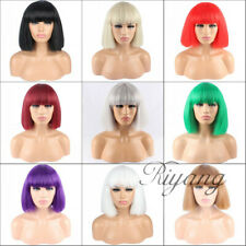Women's Bob Wig with Full Bangs Short Cosplay Hairpiece Full Head Heat Resistant