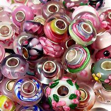 25pcs Lot Pink Mix European Style Lampwork Glass Beads Single Core Clean