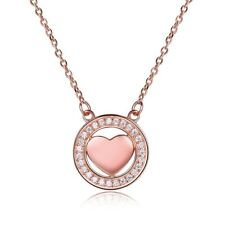 Rose Gold PLD Solid 925 Sterling Silver Heart Pendant Necklace Photo Jewellery