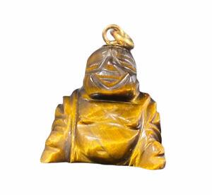 14k Yellow Gold Tiger Eye Buddha Pendant Dangle 8.2g