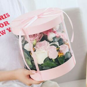 Transparent Flower Gift Packaging Round Box Dust Proof Exhibitions Gifts Bag