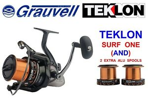CLEARANCE GRAUVELL TEKLON SURF ONE REEL+2 SPARE SPOOLS FOR SEA COMPETITION II