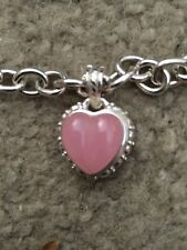 "Judith Ripka Sterling & Pink Jade Heart Enhancer on 20"" Rolo Necklace, 54 gr"