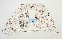 New Look Womens Size 10 Floral Cotton White Blazer (Regular)