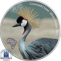 Afrika Serie Kronenkranich Silver Ounce 2017 Ghana 5 Cedis Antique Finish Farbe