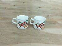Vintage 1977 Lillian Vernon Christmas Holiday Coffee Mugs Set of 2 Ireland