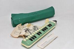 Hohner Melodica Soprano German Vintage Wind Instrument Green & Beige In Case