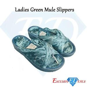 Emerald Green Mule Padded Slippers, Ladies Size 5/6 Comfy Wedged Velour Sliders