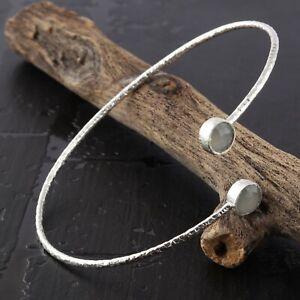 Beautiful Round Shape White Chalcedony Silver Plated Adjustable Bangle Bracelets