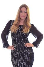Pailletten Clubwear-Langarm Damenkleider
