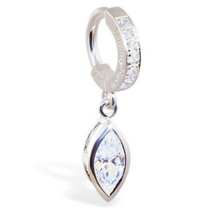 TummyToys Sterling Silver Pave Set CZ Ring With Large Marquise CZ Drop[TT-63035]