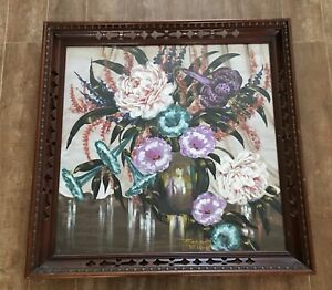 "Vintage Zara Ellwood 35"" Art Noveau flowers adore cut frame 1930s vase painting"