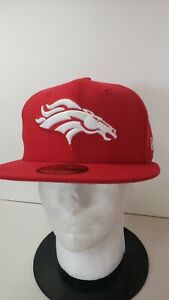 🔥🔥 OFFICIAL DENVER BRONCOS NFL NEW ERA FITTED 7 1/8 1/4 5/8 3/4 RED HAT🏈🏈