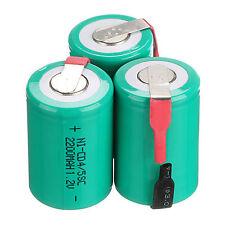 3 pezzi NiCd/NiMh 4/5 SubC SUB C 1.2v 2200mAh Ricaricabile Batteria & Tab Verde