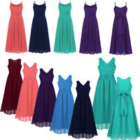 Girls Long Maxi Dress Bridesmaid Wedding Party Pageant Prom Dresses For Age 6-16