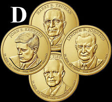 """A 2015 D Presidential Dollar COMPLETE 4 Coin Set """"Brilliant Uncirculated"""" COINS"""