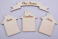 Wooden Engraved House Shapes and Banner Plaques Personalised set of 3 houses
