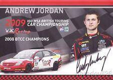 2009 Andrew Jordan signed VX Racing Vauxhall Vectra BTCC postcard