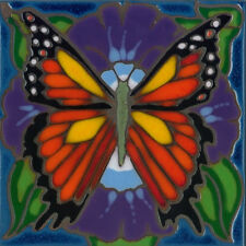 Handpainted ceramic tile original art Monarch butterfly painting backsplash