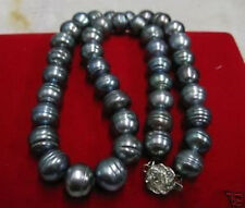 huge 11-12 MM18'' FRESHWATER BAROQUE BLACK PEARL NECKLACE