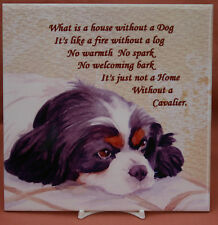 CAVALIER KING CHARLES SPANIEL DOG tri colour HARDBOARD PLAQUE TILE SANDRA COEN