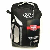 Rawlings Baseball Backpack Equipment Bag Youth Softball 2 Bats Fence Hook Black