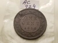 1858 Canada Large Cent Rare Id#ac924.