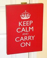 """WILD & WOLF ~ RED CANVAS """"KEEP CALM AND CARRY ON"""" PICTURE/WALL ART/ DECORATION"""