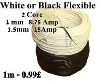 2192Y Mains Power Electric Cable 2 Core 1mm-1.5mm  White or Black Flexible