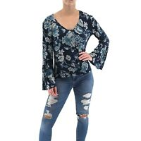 LUCKY BRAND Sz M Blue and Teal Floral Long Flutter Sleeve V-Neck Top