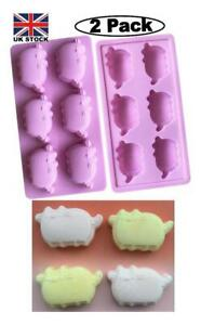 (2 PC) New Pusheen Cat Pet Silicone Chocolate,Baking,Wax,Candy,Bat 12 Mould Pink