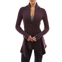 Women Long Sleeve Irregular Knit Sweater Cardigan Jumper Tops Knitwear Top Coat