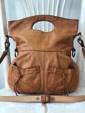 🍀 LUCKY BRAND Wanderer Camel Soft Lambs Leather Messenger Shoulder Bag Tote