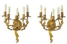 Pair of italian Rococo style gilt bronze wall light sconces