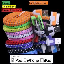 2M Flat Braided USB Data Sync Charger Cable For iPhone 4 4S 3G 3GS iPad 2 iPod