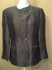 Giorgio Armani le Collezioni Italy Womens 6 Blouse Silk Shimmer Gray