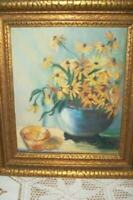 1930's FLORAL OIL PAINTING BLACKEYED SUSANS HEAVY LAYERED GILT WOOD FRAME