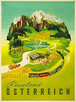 Reiseland Osterreich Austria Austrian  Vintage Travel Advertisement Poster Print