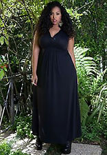 SWAK Designs Black Color Women's Maxi Dress - Sleeveless   - Plus Size: 2X -