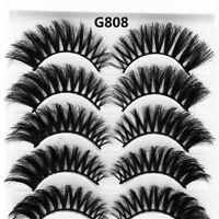 5Pairs 3D Mink Hair Long False Eyelashes Wispy Cross Lashes Extension Tools UK a