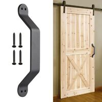 "9"" Barn Handle Cast Iron Pull Gate Shed Cabinet Matte Black for Sliding Door"
